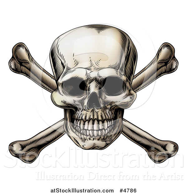 Vector Illustration of a Jolly Roger Skull over Crossbones