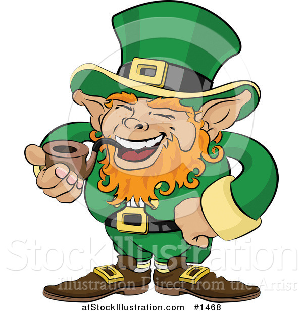 Vector Illustration of a Jolly St Patricks Day Leprechaun with Red Hair, Dressed in Green and Laughing While Smoking a Tobacco Pipe