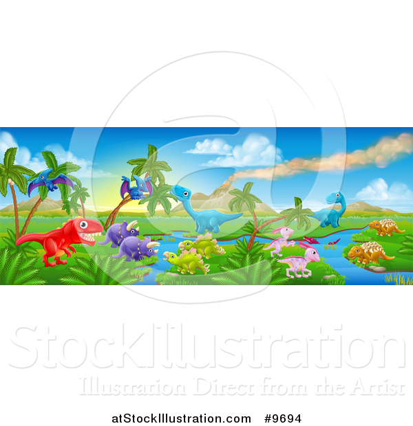 Vector Illustration of a Jurassic Landscape with a Volcano and Dinosaurs