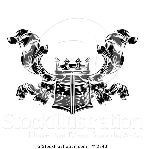 Vector Illustration of a Knights Great Helm Helmet and Foliage Crest Coat of Arms