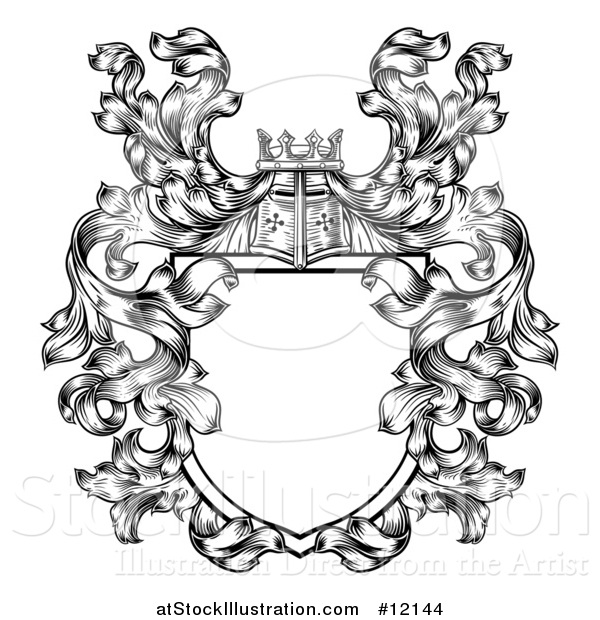 Vector Illustration of a Knights Great Helm Helmet and Foliage Crest Coat of Arms Shield