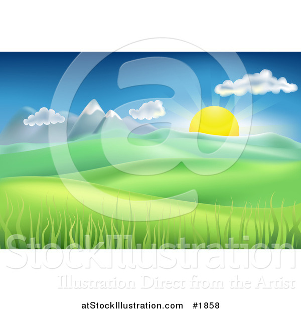 Vector Illustration of a Landscape Background of the Sun Rising over Mountains and Hills