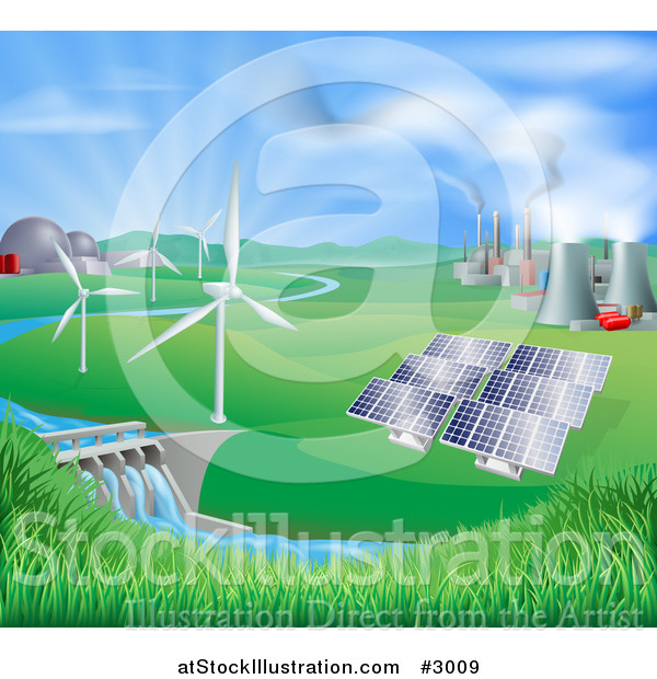 Vector Illustration of a Landscape of Wind Turbine Nuclear Fossil Fuel Coal Solar Panels and Hydro Electric Power Generation Plants