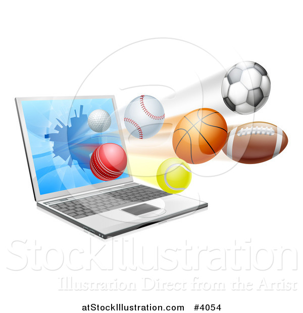 Vector Illustration of a Laptop Computer and Sports Balls Flying from the Screen