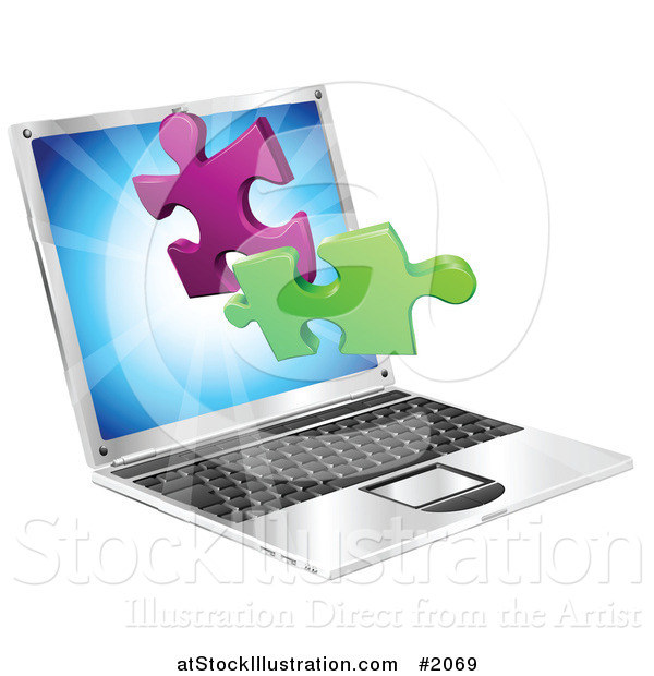 Vector Illustration of a Laptop Computer with 3d Jigsaw Puzzle Pieces