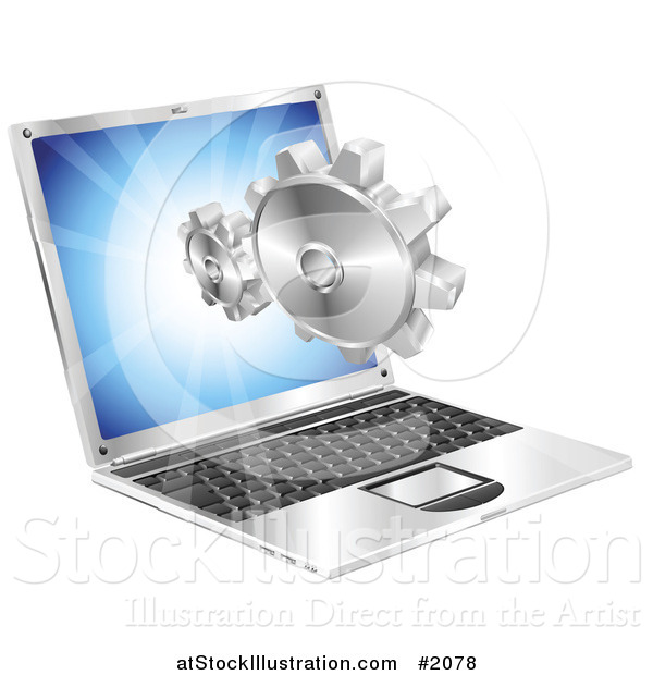 Vector Illustration of a Laptop Screen with Gears Emerging