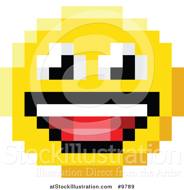 Vector Illustration of a Laughing 8 Bit Video Game Style Emoji Smiley Face