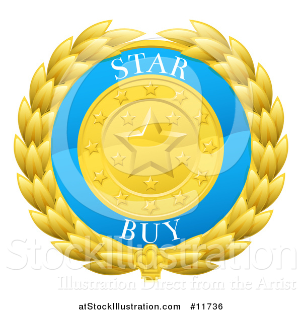 Vector Illustration of a Laurel Wreath Badge with Star Buy Text