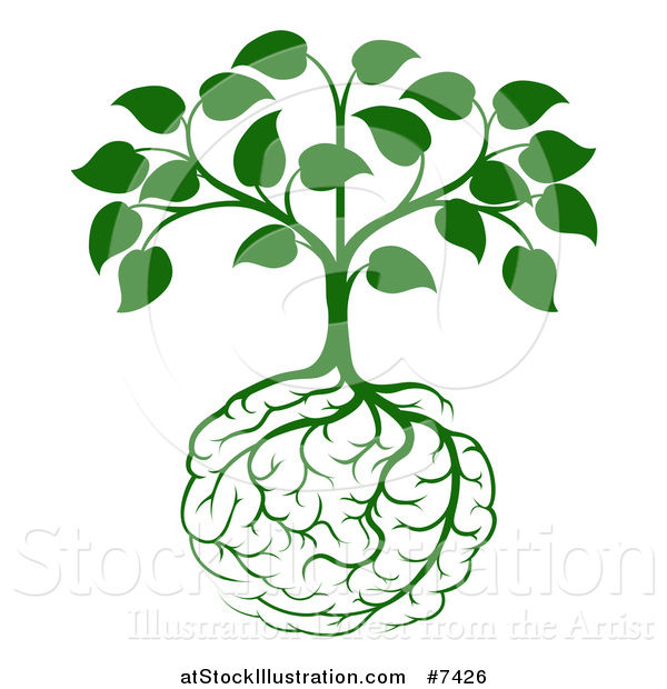 Vector Illustration of a Leafy Green Heart Shaped Tree with Brain Roots