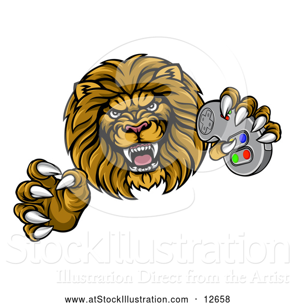 Vector Illustration of a Leaping Male Lion Holding a Video Game Controller
