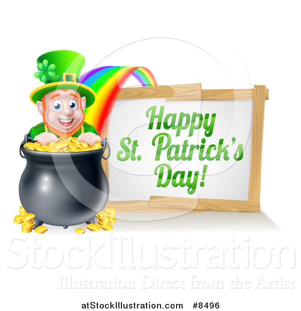Vector Illustration of a Leprechaun with a Pot of Gold at the End of a Rainbow, with a Happy St Patricks Day Sign
