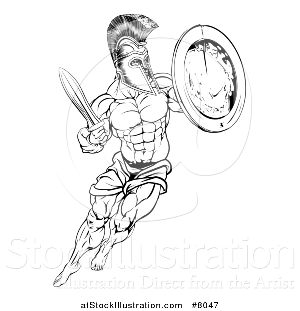 Vector Illustration of a Lineart Black and White Muscular Spartan Man in a Helmet Fighting and Jumping with a Sword and Shield