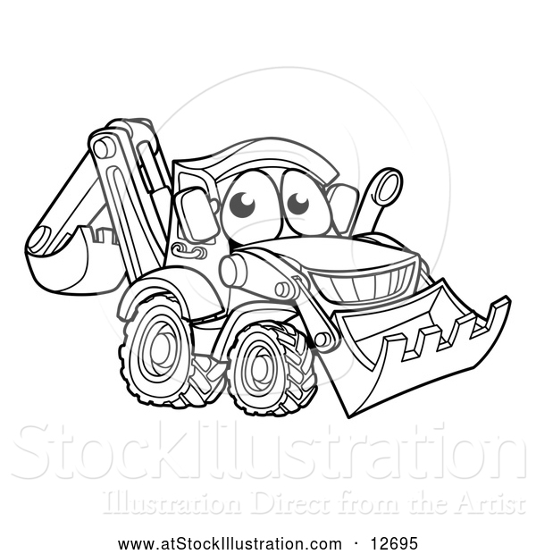 Vector Illustration of a Lineart Bulldozer Digger Mascot Character