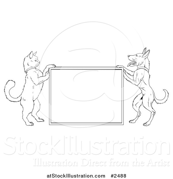 Vector Illustration of a Lineart Cat and Dog Standing up and Framing a Sign