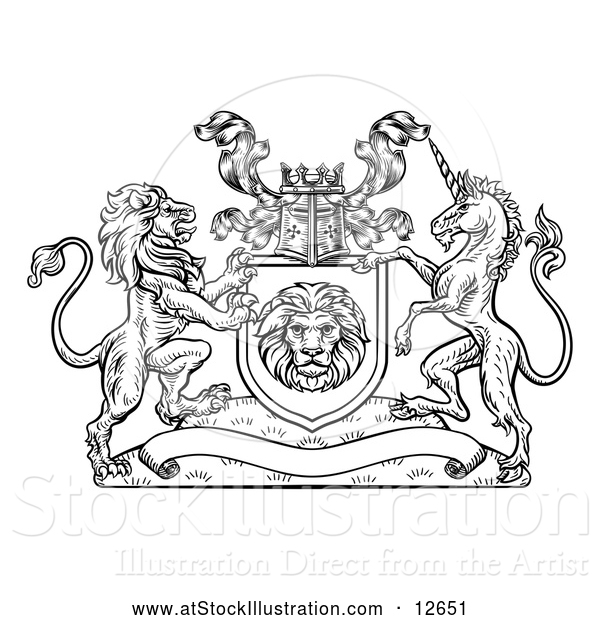 Vector Illustration of a Lion and Unicorn Flanking a Shield over a Blank Banner - Black Outline