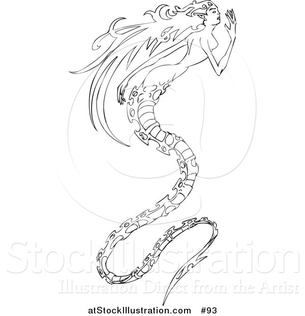 Vector Illustration of a Long Haired Mermaid with a Long, Spiny, Dragon-like Tail
