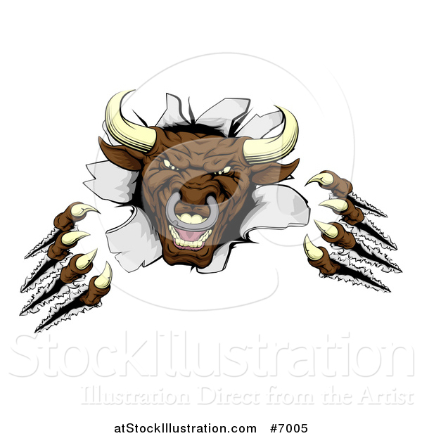 Vector Illustration of a Mad Aggressive Clawed Bull Monster Slashing Through a Wall