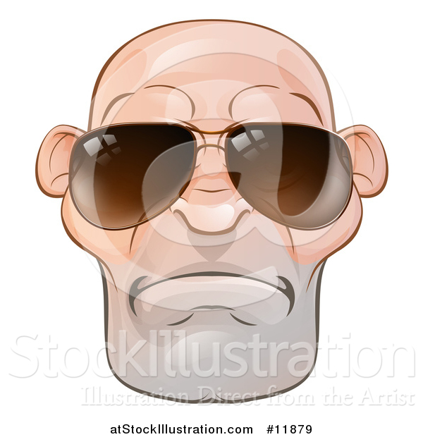 Vector Illustration of a Mad and Mean Bald Caucasian Man's Face with Sunglasses