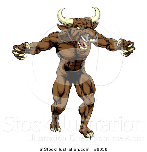 Vector Illustration of a Mad Brown Bull Man Monster Mascot Attacking