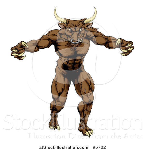 Vector Illustration of a Mad Brown Bull Mascot Attacking