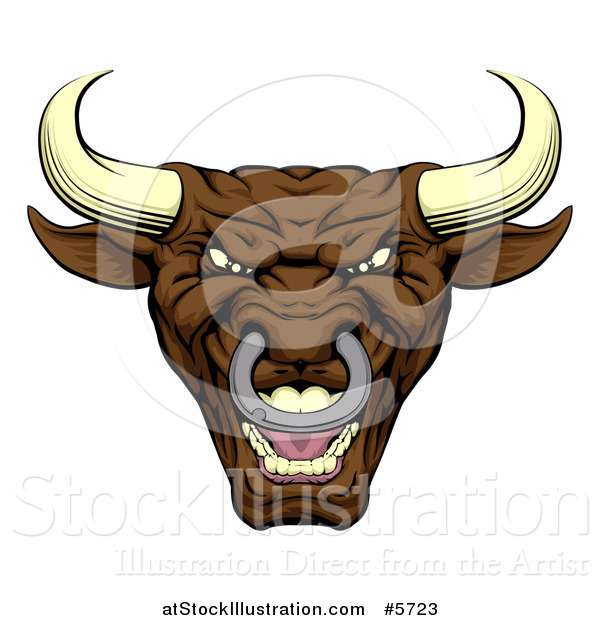 Vector Illustration of a Mad Brown Bull Mascot Head