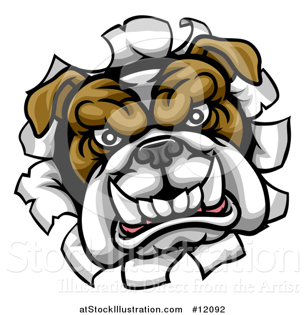 Vector Illustration of a Mad Bulldog Breaking Through a Wall