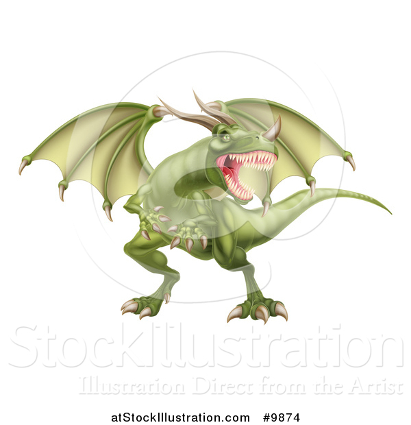 Vector Illustration of a Mad Green Dragon with a Horned Nose