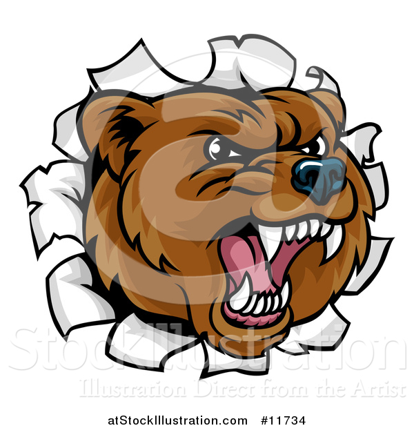 Vector Illustration of a Mad Grizzly Bear Mascot Head Breaking Through a Wall