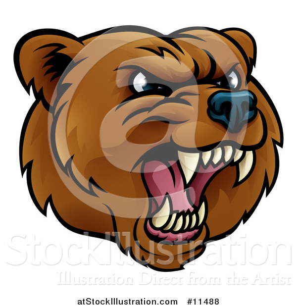 Vector Illustration of a Mad Grizzly Bear Mascot Head