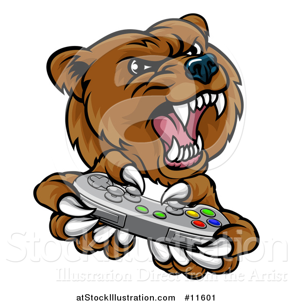 Vector Illustration of a Mad Grizzly Bear Mascot Holding a Video Game Controller
