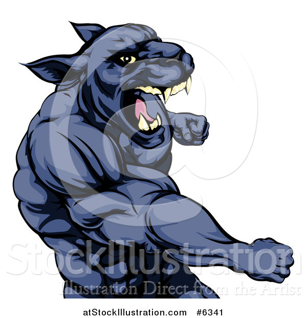 Vector Illustration of a Mad Muscular Black Panther Man Mascot Punching