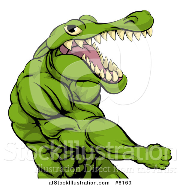 Vector Illustration of a Mad Muscular Crocodile or Alligator Man Punching