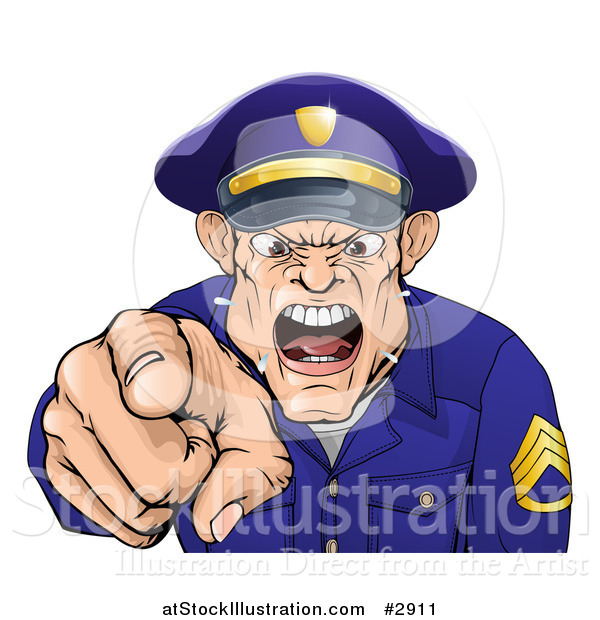 Vector Illustration of a Mad Police Officer Spitting Shouting and Pointing Outwards