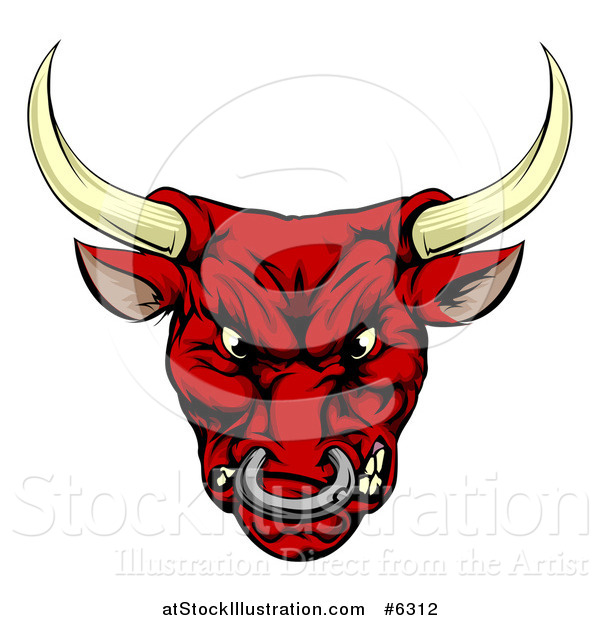 Vector Illustration of a Mad Red Bull Mascot Head
