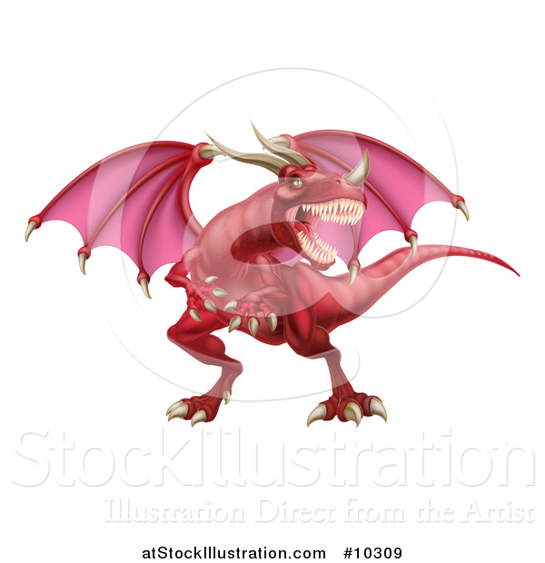 Vector Illustration of a Mad Red Dragon with a Horned Nose