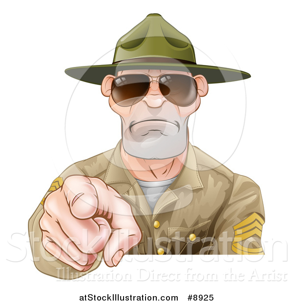 Vector Illustration of a Mad White Male Army Boot Camp Drill Sergeant Wearing Sunglasses and Pointing at You