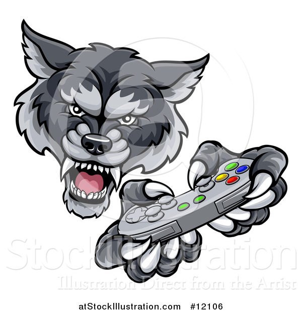 Vector Illustration of a Mad Wolf Mascot Holding a Video Game Controller