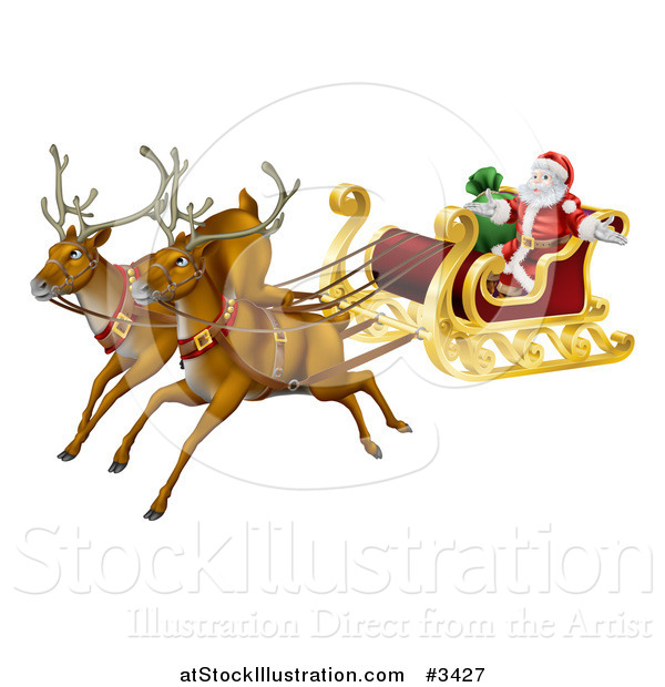Vector Illustration of a Magic Flying Christmas Reindeer and Santa in a Sleigh
