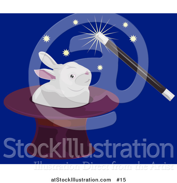 Vector Illustration of a Magician Using a Magic Wand to Make a White Rabbit Appear in a Hat