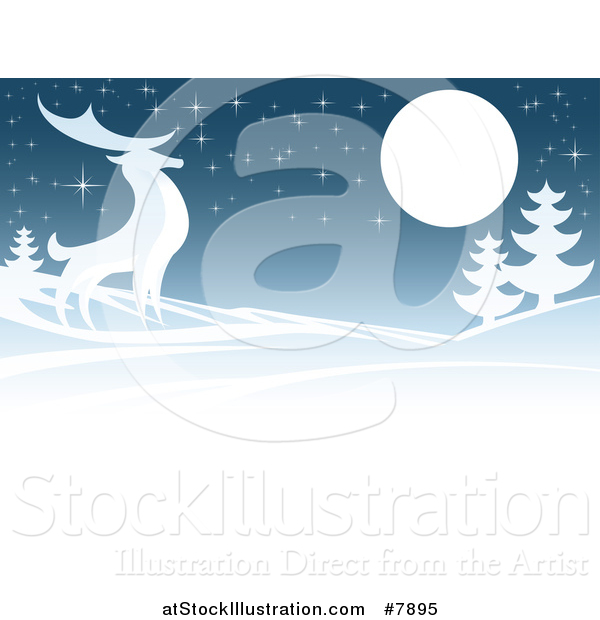 Vector Illustration of a Majestic Buck Deer in a Hilly Winter Landscape Under a Full Moon at Night