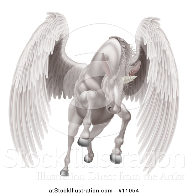 Vector Illustration of a Majestic White Winged Horse Pegasus Flying Forward