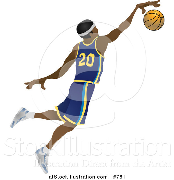 Vector Illustration of a Male African American Basketball Athlete Jumping with the Ball