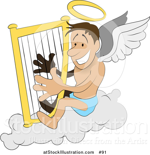 Vector Illustration of a Male Angel with a Halo and Wings, Sitting on a Cloud and Playing a Harp