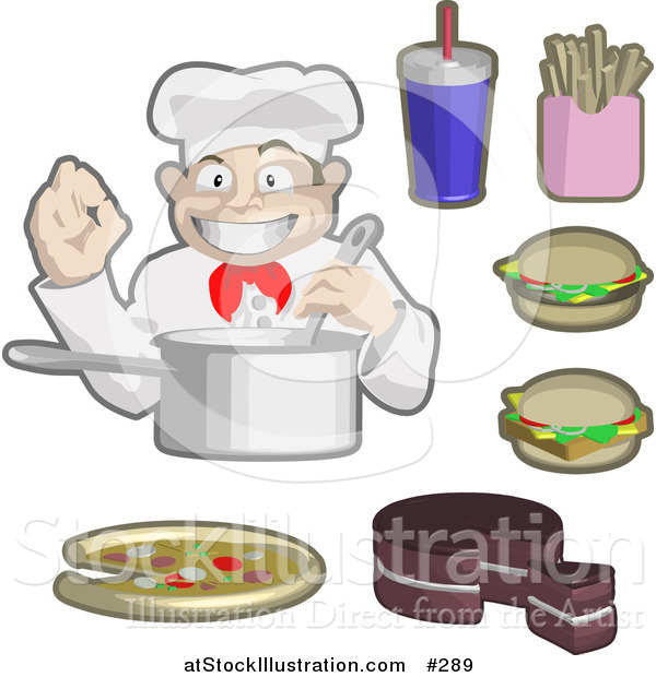 Vector Illustration of a Male Chef Cooking, Surrounded by Soda, Fries, Cheeseburgers, Cake and Piza