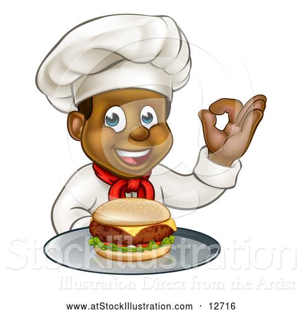 Vector Illustration of a Male Chef Holding a Cheeseburger on a Tray and Gesturing Perfect