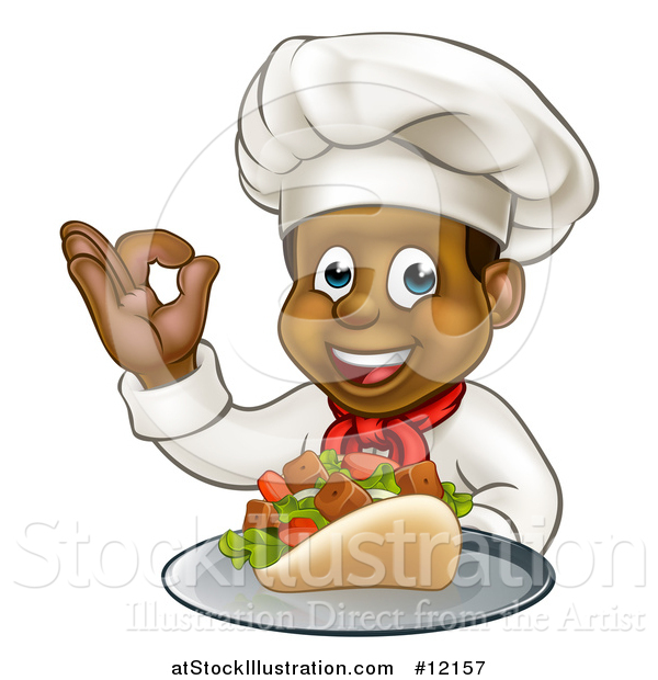 Vector Illustration of a Male Chef Holding a Souvlaki Kebab Sandwich on a Tray and Gesturing Perfect