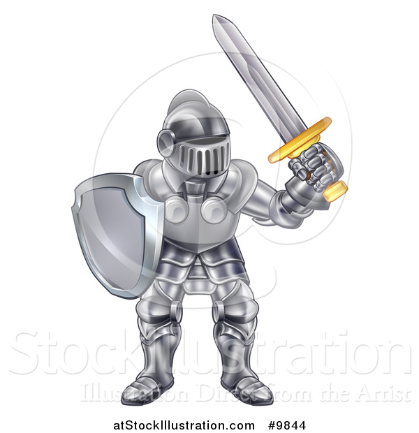 Vector Illustration of a Male Knight in a Suit of Armour
