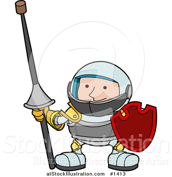 Vector Illustration of a Male Knight in Armour, Holding a Lance with a Cork on the Sharp Tip and a Shield