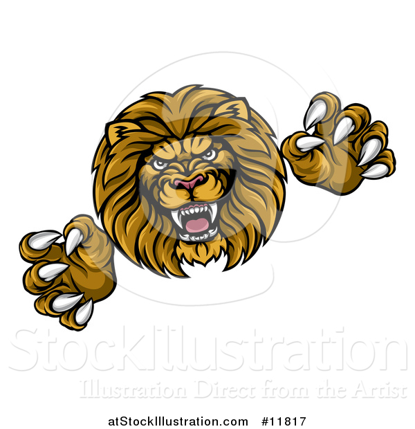 Vector Illustration of a Male Lion Attacking