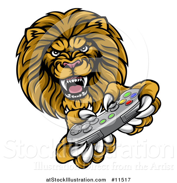 Vector Illustration of a Male Lion Playing a Video Game